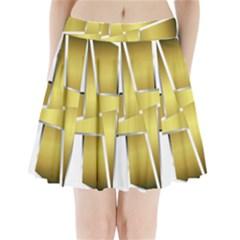 Logo Cross Golden Metal Glossy Pleated Mini Skirt