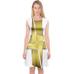 Logo Cross Golden Metal Glossy Capsleeve Midi Dress