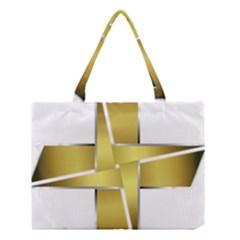 Logo Cross Golden Metal Glossy Medium Tote Bag