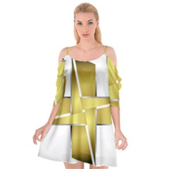Logo Cross Golden Metal Glossy Cutout Spaghetti Strap Chiffon Dress