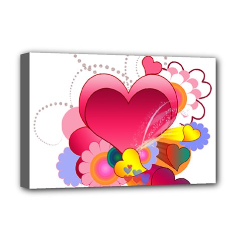 Heart Red Love Valentine S Day Deluxe Canvas 18  x 12