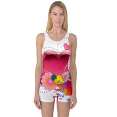 Heart Red Love Valentine S Day One Piece Boyleg Swimsuit