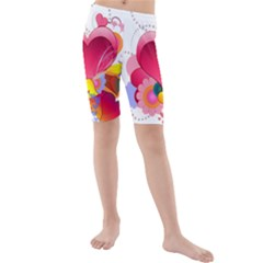 Heart Red Love Valentine S Day Kids  Mid Length Swim Shorts