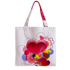 Heart Red Love Valentine S Day Zipper Grocery Tote Bag
