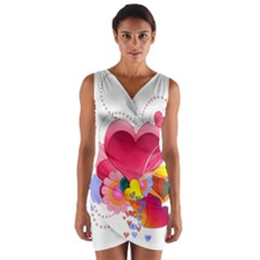 Heart Red Love Valentine S Day Wrap Front Bodycon Dress