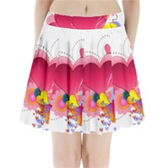 Heart Red Love Valentine S Day Pleated Mini Skirt