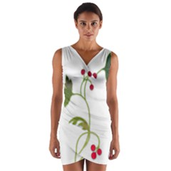 Element Tag Green Nature Wrap Front Bodycon Dress