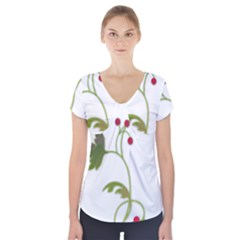 Element Tag Green Nature Short Sleeve Front Detail Top