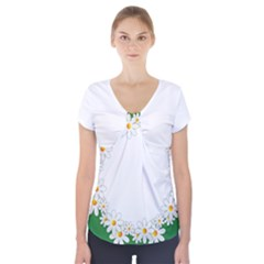 Photo Frame Love Holiday Short Sleeve Front Detail Top