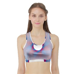Spirograph Pattern Drawing Design Sports Bra with Border