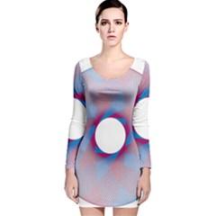 Spirograph Pattern Drawing Design Long Sleeve Velvet Bodycon Dress