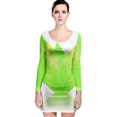 Leaves Green Nature Reflection Long Sleeve Bodycon Dress