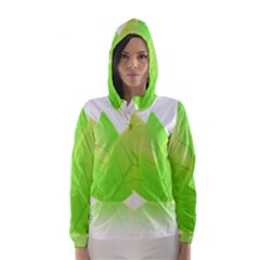 Leaves Green Nature Reflection Hooded Wind Breaker (Women)