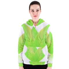 Leaves Green Nature Reflection Women s Zipper Hoodie