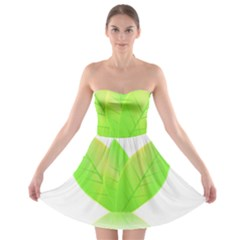 Leaves Green Nature Reflection Strapless Bra Top Dress