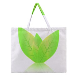 Leaves Green Nature Reflection Zipper Large Tote Bag