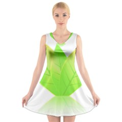 Leaves Green Nature Reflection V Neck Sleeveless Skater Dress