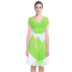 Leaves Green Nature Reflection Short Sleeve Front Wrap Dress