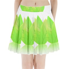 Leaves Green Nature Reflection Pleated Mini Skirt