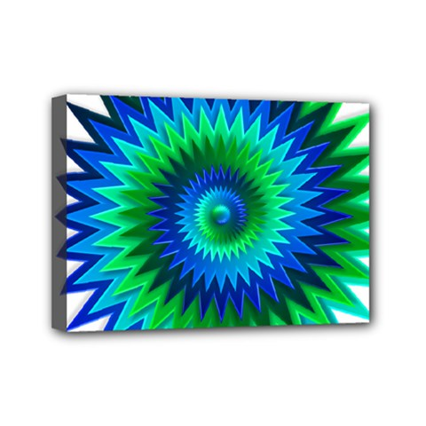 Star 3d Gradient Blue Green Mini Canvas 7  X 5