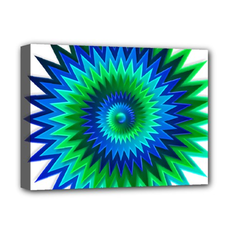 Star 3d Gradient Blue Green Deluxe Canvas 16  x 12