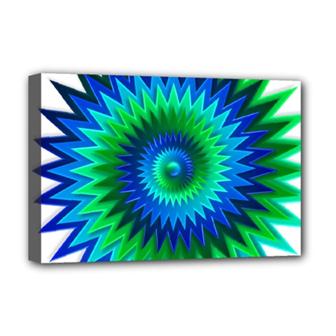 Star 3d Gradient Blue Green Deluxe Canvas 18  X 12