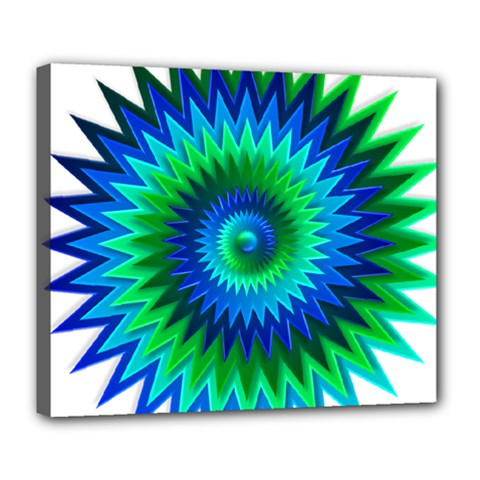 Star 3d Gradient Blue Green Deluxe Canvas 24  X 20