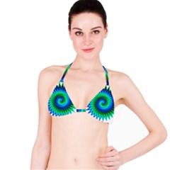 Star 3d Gradient Blue Green Bikini Top
