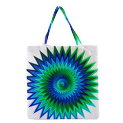Star 3d Gradient Blue Green Grocery Tote Bag