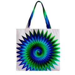 Star 3d Gradient Blue Green Zipper Grocery Tote Bag