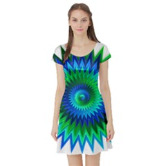Star 3d Gradient Blue Green Short Sleeve Skater Dress