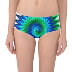 Star 3d Gradient Blue Green Mid Waist Bikini Bottoms
