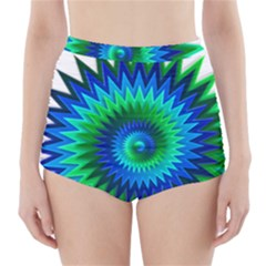 Star 3d Gradient Blue Green High-Waisted Bikini Bottoms