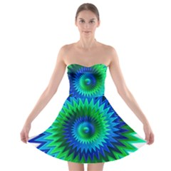 Star 3d Gradient Blue Green Strapless Bra Top Dress