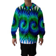 Star 3d Gradient Blue Green Hooded Wind Breaker (Kids)
