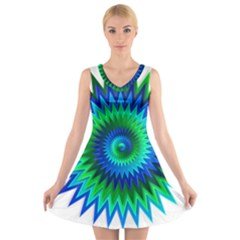 Star 3d Gradient Blue Green V Neck Sleeveless Skater Dress