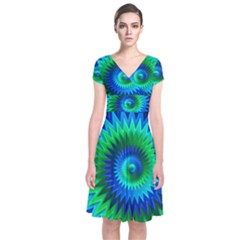 Star 3d Gradient Blue Green Short Sleeve Front Wrap Dress