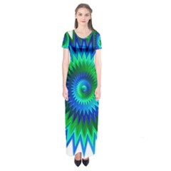 Star 3d Gradient Blue Green Short Sleeve Maxi Dress