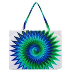Star 3d Gradient Blue Green Medium Zipper Tote Bag