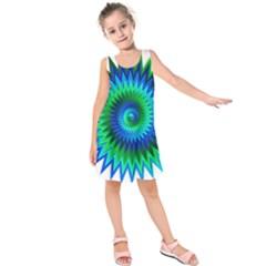 Star 3d Gradient Blue Green Kids  Sleeveless Dress