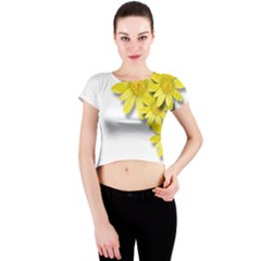 Flowers Spring Yellow Spring Onion Crew Neck Crop Top