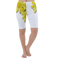 Flowers Spring Yellow Spring Onion Cropped Leggings