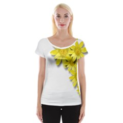 Flowers Spring Yellow Spring Onion Women s Cap Sleeve Top