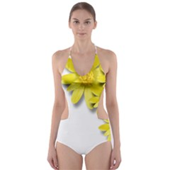 Flowers Spring Yellow Spring Onion Cut-Out One Piece Swimsuit