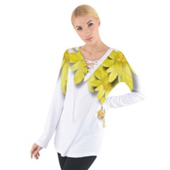 Flowers Spring Yellow Spring Onion Women s Tie Up Tee
