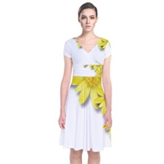 Flowers Spring Yellow Spring Onion Short Sleeve Front Wrap Dress