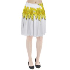 Flowers Spring Yellow Spring Onion Pleated Skirt