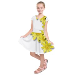 Flowers Spring Yellow Spring Onion Kids  Short Sleeve Dress