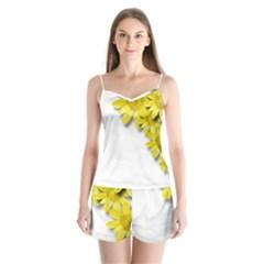 Flowers Spring Yellow Spring Onion Satin Pajamas Set