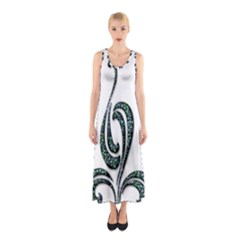 Scroll Retro Design Texture Sleeveless Maxi Dress